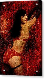 Bettie Page Painting Art Signed Prints Available At Laartwork.com Coupon Code Kodak Acrylic Print by Leon Jimenez