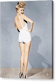 Betty Grable, World War II Pin-up, 1943 Acrylic Print by Everett