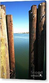 Between The Dock Poles At Long Beach Island Acrylic Print by John Rizzuto