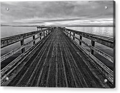 Bevan Fishing Pier - Black And White Acrylic Print
