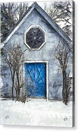 Beyond The Blue Door Pencil Acrylic Print by Edward Fielding