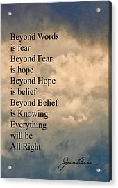 Acrylic Print featuring the painting Beyond Words by Joan Reese