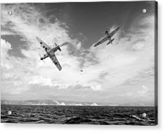 Acrylic Print featuring the photograph Bf109 Down In The Channel Bw Version by Gary Eason