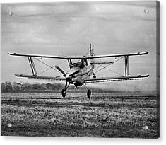 Bi-winged Crop Duster B N W Acrylic Print