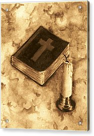 Bible And Candle Acrylic Print by Michael Vigliotti