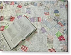 Bible On Quilt Acrylic Print