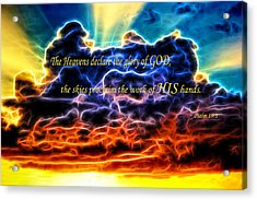 Acrylic Print featuring the photograph Biblical Electrified Cumulus Clouds Skyscape - Psalm 19 1 by Shelley Neff