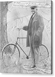 Bicycle And Jd Rockefeller Vintage Photo Art Acrylic Print by Karla Beatty