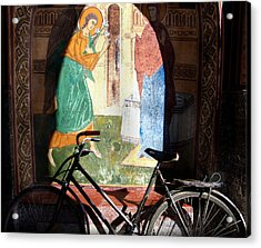 Bicycle And Mural Acrylic Print by Todd Fox