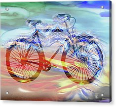 Bicycle And Speed Watercolor Silhouette Acrylic Print