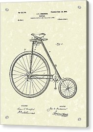 Bicycle Anderson 1899 Patent Art Acrylic Print by Prior Art Design