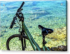Bicycle By The Adriatic, Rovinj, Istria, Croatia Acrylic Print