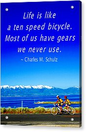 Bicycle Charles M Schulz Quote Acrylic Print