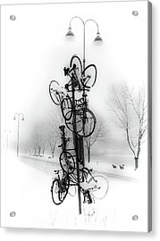 Acrylic Print featuring the photograph Bicycle Lamppost In Winter by Menega Sabidussi