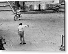 Acrylic Print featuring the photograph Bicycle Lesson Schurz Park by Dave Beckerman