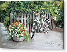 Acrylic Print featuring the painting Bicycle On Fence by Melinda Saminski