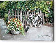 Bicycle On Fence Acrylic Print by Melinda Saminski