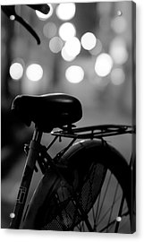 Bicycle On Street At Night In Osaka Japan Acrylic Print by Freedom Photography