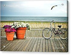 Bicycle On The Ocean City New Jersey Boardwalk. Acrylic Print by Melissa Ross
