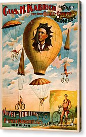 Acrylic Print featuring the photograph Bicycle Parachute Act 1896 by Padre Art