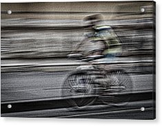 Bicycle Rider Abstract Acrylic Print