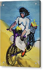 Bicycle Riding With Baskets Of Flowers Acrylic Print by Amara Dacer