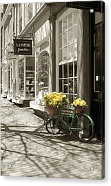 Bicycle With Flowers - Nantucket Acrylic Print by Henry Krauzyk