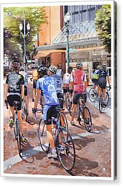 Bicycles On Broadway Acrylic Print by Mike Hill