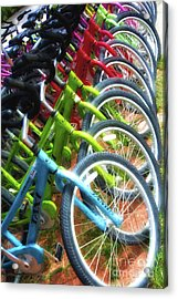 Bicycles On Florida County Road 30-a Acrylic Print by Mel Steinhauer