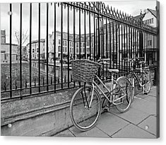 Acrylic Print featuring the photograph Bicycles On Magdalene Bridge Cambridge In Black And White by Gill Billington