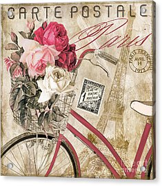 Bicycling In Paris I Acrylic Print by Mindy Sommers