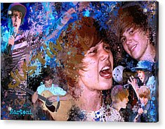Bieber Fever Tribute To Justin Bieber Acrylic Print by Alex Martoni