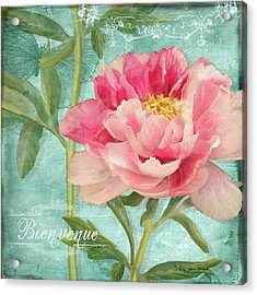 Bienvenue - Peony Garden Acrylic Print by Audrey Jeanne Roberts