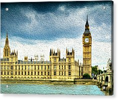 Big Ben And Houses Of Parliament With Thames River Acrylic Print