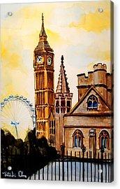 Big Ben And London Eye - Art By Dora Hathazi Mendes Acrylic Print by Dora Hathazi Mendes