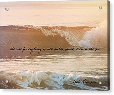 Big Blue Ocean Quote Acrylic Print by JAMART Photography