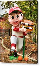 Big Boy Is A Cincinnati Reds Fan Acrylic Print by Mel Steinhauer