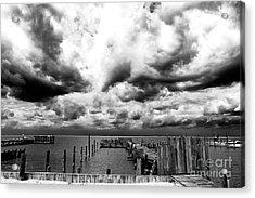 Big Clouds Little Dock Acrylic Print by John Rizzuto