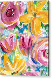Big Colorful Flowers - Art By Linda Woods Acrylic Print