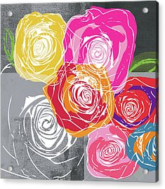 Big Colorful Roses 1- Art By Linda Woods Acrylic Print