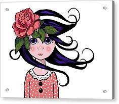 Big Eyed Girl With Rose, Pop Art Acrylic Print