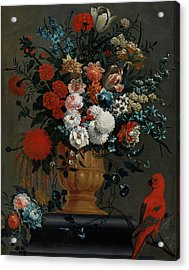 Big Flowers Still Life With Red Parrot Acrylic Print