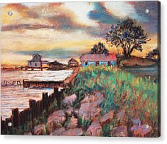 Acrylic Print featuring the painting Big Lake Bulkhead by AnnE Dentler