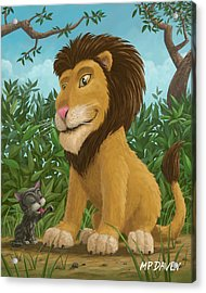 Big Lion Small Cat Acrylic Print by Martin Davey