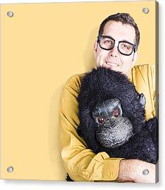 Big Male Goof Cuddling Toy Gorilla. Comfort Zone Acrylic Print by Jorgo Photography - Wall Art Gallery