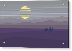 Big Moon At Twilight Acrylic Print by Val Arie