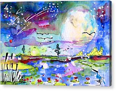 Acrylic Print featuring the painting Big Moon Wetland Magic by Ginette Callaway