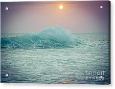 Big Ocean Wave At Sunset With Sun Acrylic Print