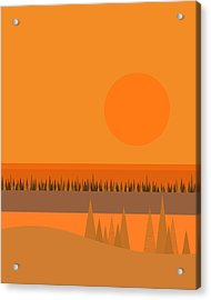 Acrylic Print featuring the digital art Big Orange Sun by Val Arie