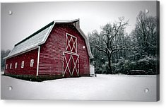 Big Red Barn In Snow Acrylic Print